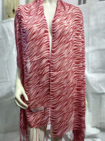 New Zebra Pattern Pashmina Silk Cashmere Shawl Scarf Stole Wrap In Red & Pink