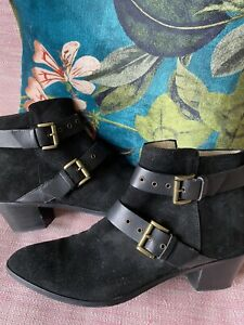 Hobbs Black Suede Ankle Boots with Straps & Buckle Trim UK 7