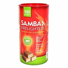 Samba NATURAL FIRELIGHTERS 100Pieces Cubes, Long Lasting Brown*Australian Brand
