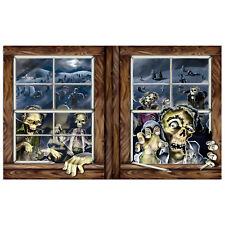 Halloween ZOMBIE Attack backdrop WINDOW wall banner prop DECORATION Apocalypse