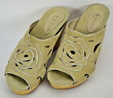 Earthies Tropez Suede Leather Wood Sole Slides Mules Shoes Womens 7.5 B Nude