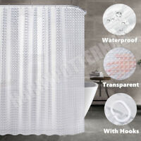 3D Shower Curtain Bathroom with 12 Hooks Waterproof Clear 180cmx180cm 180x200cm