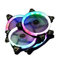 LED Cooling Fan RGB 12cm DC 12V Brushless Cooler For Computer Case PC CPU K3M9F