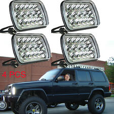 "4pc LED Headlight 7X6"" Headlamp Crystal Sealed Beam for Jeep Cherokee 1984-2001"