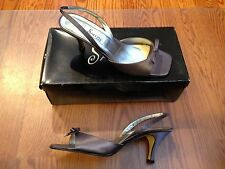 Salon Savannah Violet Satin Silk Formal Wedding Shoes Open Toe Pumps ~ Sz. 8 NIB