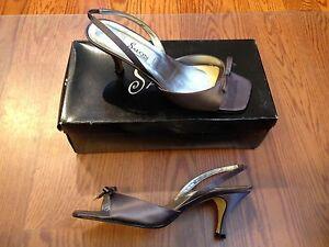 Salon Savannah Violet Satin Silk Formal Wedding Shoes Open Toe Pumps ~ Sz. 8 NIB