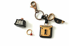 Juicy Couture Perfume Flower Ring Lock & Key Chain Keychain Leather Fob Lot