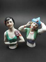 Two Vintage Half Pincushion Dolls German Ladies Women Sewing Accessories