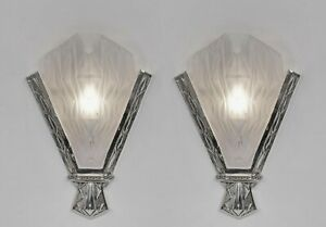 DEGUÉ : LARGE PAIR OF 1930 FRENCH ART DECO WALL SCONCES ...... lights muller era