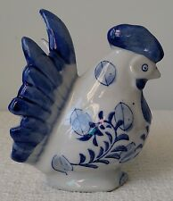 """Blue and White Ceramic Rooster COIN BANK(S) (3 available) ~ Approx. 4"""""""