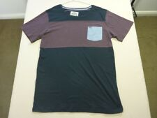 107 MENS NWOT RIP CURL SURF CRAFT BLK / PLUM STRIPED S/S T-SHIRT XL $60 RRP.