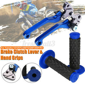 2X CNC Brake Clutch Levers + Handle Grips For Yamaha YZ426F YZ450F YZ250 KX AU~