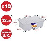 WHAM 10 X 32LITRE UNDERBED PLASTIC STORAGE BOXES CLEAR BOX/CHEAP TOYS HOUSEWARE