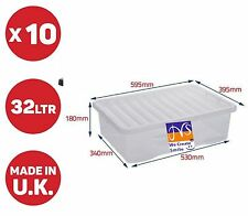 WHAM 10 X 32LITRE UNDERBED PLASTIC STORAGE BOXES CLEAR BOX/CHEAP TOYS HOUSEWARE