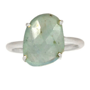 Faceted Aquamarine - Brazil 925 Sterling Silver Jewelry Ring s.8 BR29516 XGB