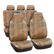Classic Leopard Pattern Velour 2 Row Set Car Seat Covers for High Back Buckets
