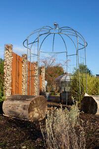 Rosenpavillon Metall grau H=270cm Rankgitter Gartenpavillon Spalier Rosenbogen