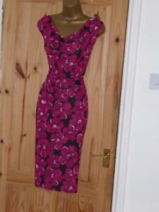 Phase Eight size 10 stretchy pink brown floral print evening party wiggle dress