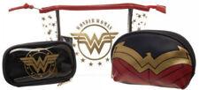 Wonder Woman Logo 3 Piece Cosmetic Gift Set - Toiletry, Make Up Bag & Brush Kit