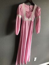 Vtg Pink Prairie Dress Medieval High Neck Long Maxi Lace Small Handmade 70s