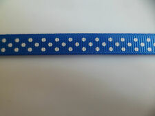 2 mtrs of Polka Dot Grosgrain Ribbon 10mm wide blue and white satin crafts xmas