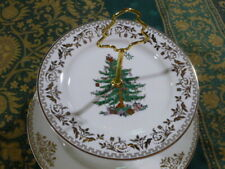 Spode  2 Tiered Christmas Tree Gold Cake Stand in Original Box