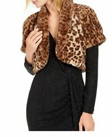 Vince Camuto Women's Jacket Brown Size Small S Faux Fur Animal Shrug $108 #331