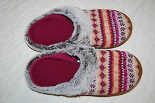 Womens Slippers KNIT TOP Faux Fur Trim INDOOR OUTDOOR Magenta Beige S 5-6