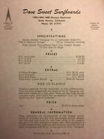 "Dave Sweet Surfboards""price List""1960-70 Santa Monica/venice Surf(jacobs,velzy"