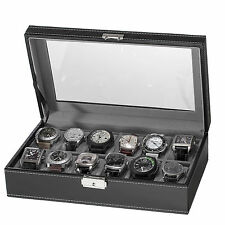 12 Slot Watch Box, Black