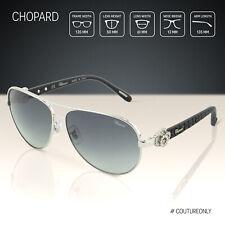 Chopard Sunglasses Women Gradient Gray & Silver Aviator Happy Diamonds SCH C26S