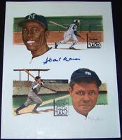 Hank Aaron Babe Ruth Signed Autographed Baseball Lithograph Litho Photo SGC COA!