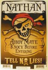 NATHAN Pirate Privacy Door Sign/Ahoy Mate/Knock Before Entering/Tell No Lies!