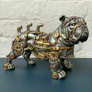 Industrial Style BULLDOG Steampunk Ornament Metal Look Resin Figure Gift  Toy