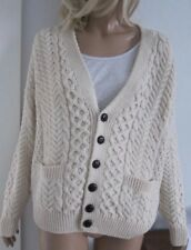 Irish Aran Fisherman CARRAIG DONN Pure Wool Cardigan Boyfriend Sweater Unisex M