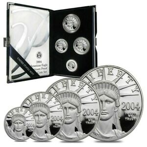 2004-W 4-Coin Proof Platinum American Eagle Set (w/Box & COA) RARE SET !!