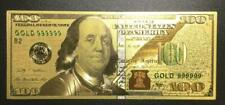 """$100 GOLD BANKNOTE 999 PURE 24K DOLLAR BILL US CURRENCY STAMPED """"24K GOLD"""" ON TH"""