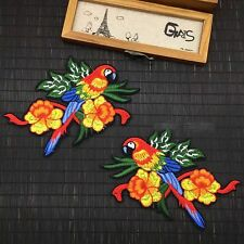 2pcs Floral Parrot Bird Fashion Embroidered Sew On Patch DIY Clothing Applique