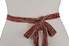 Women Red Beads Fabric Sash Tie Fashion Belt Hip Waist Long Fringes Scarf S M L
