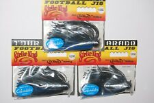 3 strike king bass jigs tour grade football head 1/2oz black blue tdj12-2