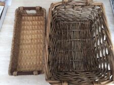 2 WICKER BASKETS FOR FLOWERS, FRUIT, CRAFTS, ETC.  Great for Holidays!