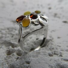 Size 9 (EU Size 60) Multi-Color BALTIC AMBER Ring, STERLING SILVER #1902