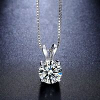 Women Fashion Crystal Pendant Necklace Charm Silver Plated Chain Jewelry Gift