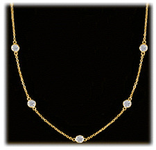 2.30 ct Round Diamond By The Yard 14k Yellow Gold Necklace 9 x 0.25 ct each G-H