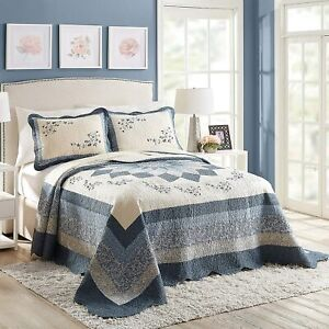 New! BEAUTIFUL XXXL COTTAGE WHITE LIGHT BLUE NAVY  ROSE FLORAL QUILT BEDSPREAD