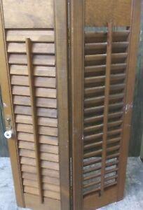 "23"" Tall x 13.5"" Wide Wood Interior Louver Plantation Window Shutter Shutters"