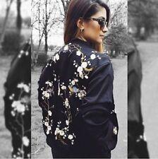 Zara Black Floral Embroidered Bird Satin Bomber Jacket S REF: 4043 083