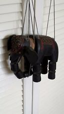 vintage handmade carved painted Indian antique elephant puppet hand