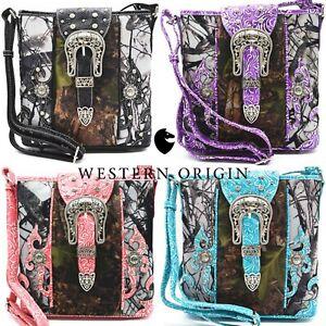 Camouflage Buckle Stud Western Concealed Carry Purse Women Crossbody Bag Handbag