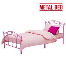 3FT Single Size Pink Metal Bed Frame For Kids Girls Heart Shape Design